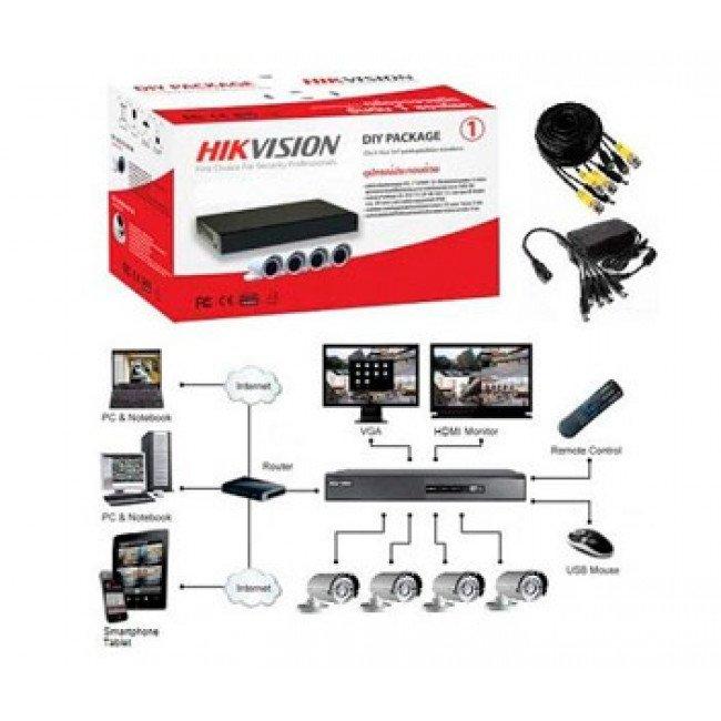 Hikvision DS-J142I/7104HGHI-F1 (4 out) Комплект TurboHD видеонаблюдения