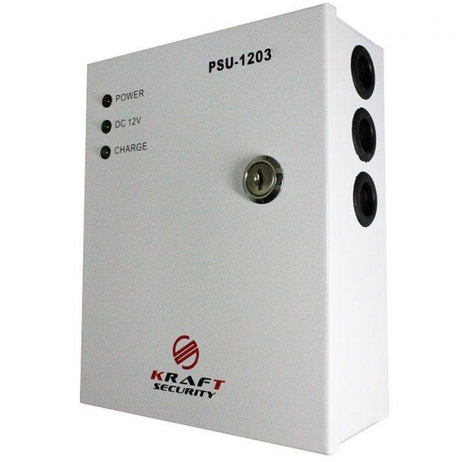 PSU-1203LED (Мет. бокс, замок) 12В/3А Бесперебойный блок питания
